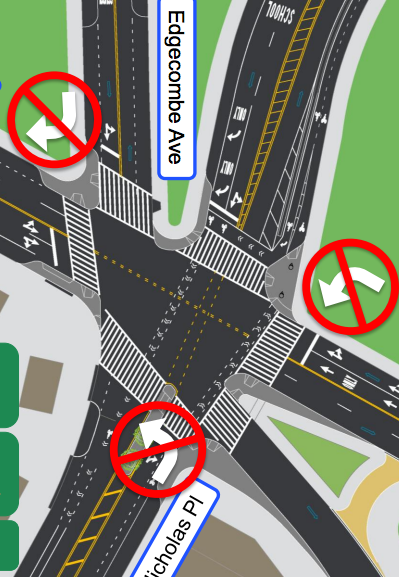 Turn bans and curb extensions could come to the knotty intersection of St. Nicholas Place and 155th Street. Image: DOT