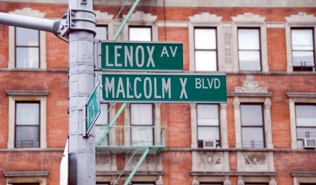 leno and malcolm x street sign