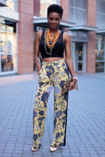Cropped tops were made for fun high-waist trousers.