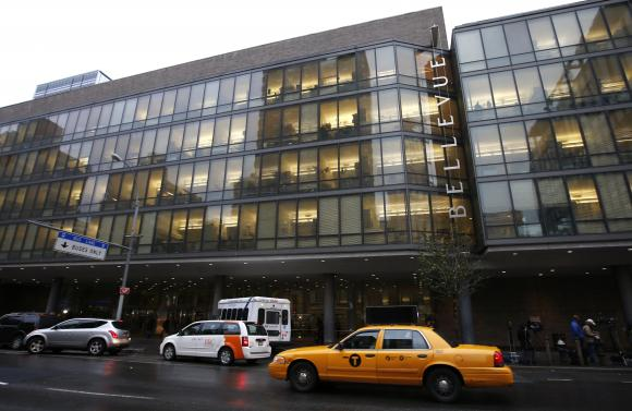 An exterior view of Bellevue Hospital in New York City