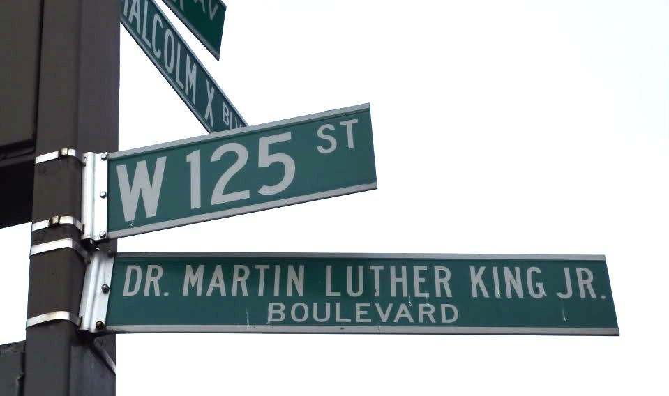 drmartinlthur king street sign in harlem