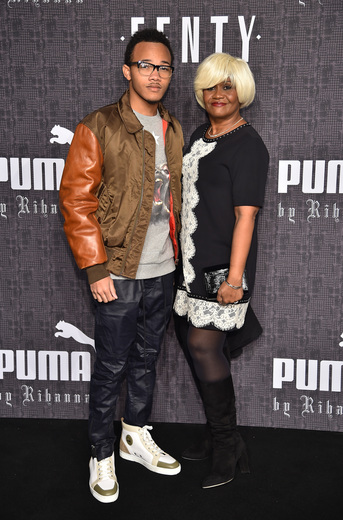 Rajad Fenty (L) and Monica Braithwaite attend the FENTY PUMA by Rihanna AW16 Collection