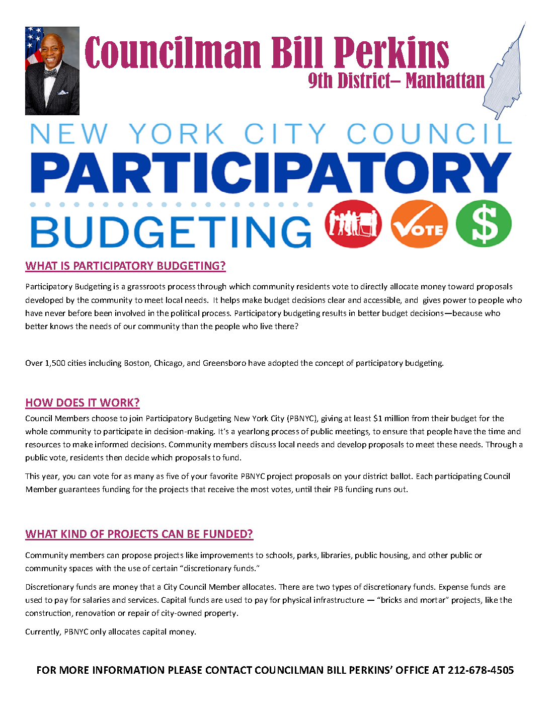 Harlem's Bill Perkins New York City Council Participatory Budgeting 2018